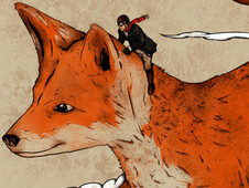 Riding the great red fox T-Shirt Design by