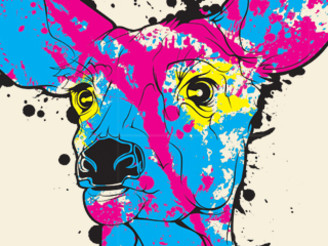 CMYK...D - Cyan Magenta Yellow Black... Deer by Philryan