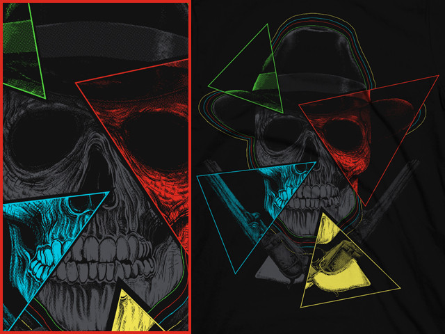 Skull, Hat, 4 triangles and guns