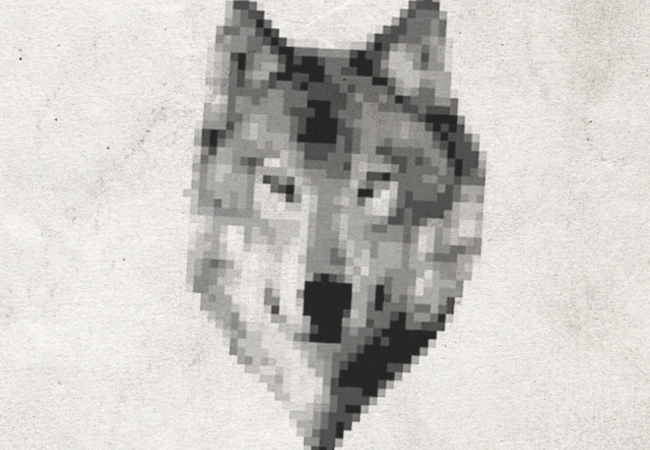 Pixelated wolf