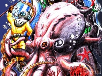 Octupus vs deep sea diver by joky