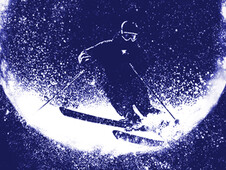 Moonlight Skiing T-Shirt Design by