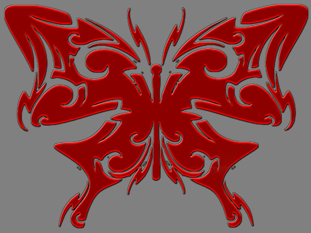 Red Tribal Butterfly