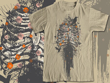 skeleton with flowers T-Shirt Design by