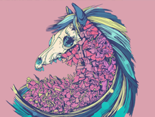 Beautiful Horse Pink T-Shirt Design by