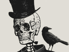 Gentleman Skeleton and Crow T-Shirt Design by
