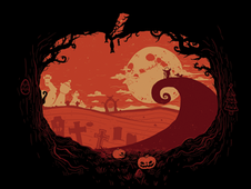 View over Halloween Town T-Shirt Design by