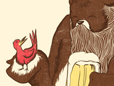 A Beardy Bear with a Beer and a Bird T-Shirt Design by