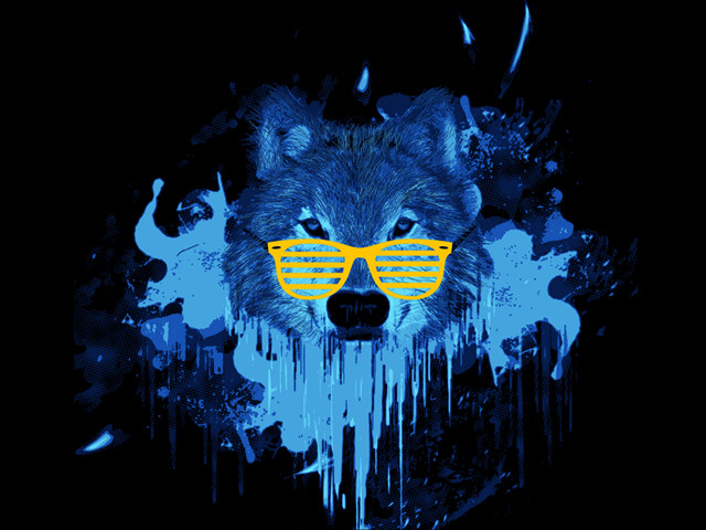 wolf in the blue