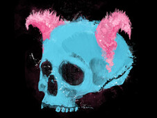 Pink Horned Skull T-Shirt Design by