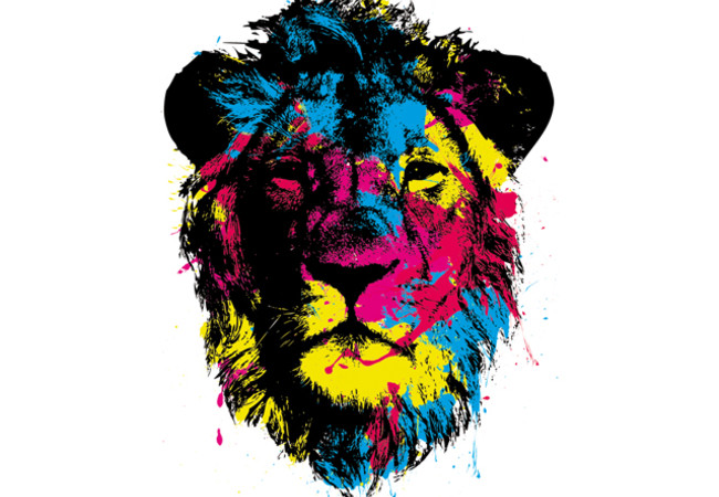 Color splattered lion