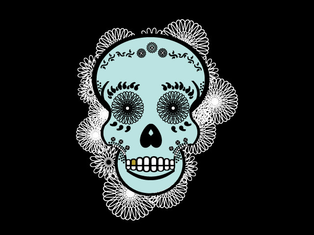 Lace Sugar Skull in Mint and Black