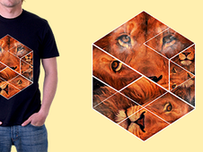 Lion Jigsaw T-Shirt Design by