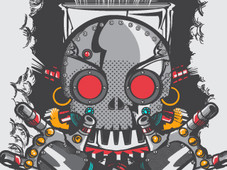 Trendy Steampunk Aborigen Robotto T-Shirt Design by