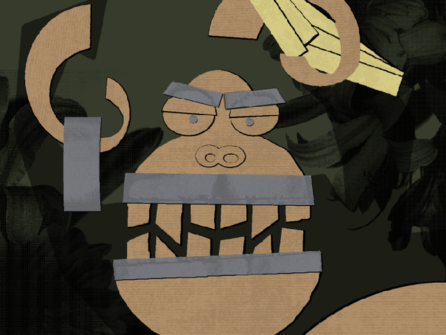 Gorilla holding bananas and roll of duct tape