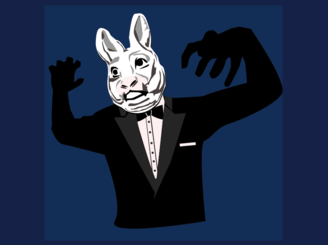 Crouching Bunny Hidden Gentleman by Erbs