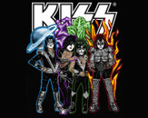 KISS oilpainting with logo by kassandraseyes