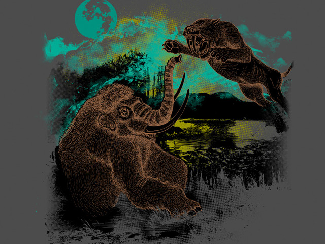 Mastodon VS. Sabretoothed-Tiger under the Blue Moon Mist