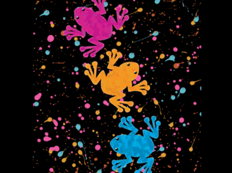 Leaping Rainbow Frogs by redaddiction