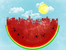 Watermelon City T-Shirt Design by