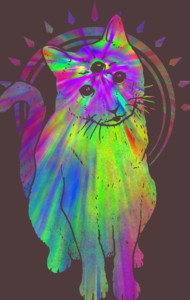 Psychic psychedelic trippy cat T-Shirt