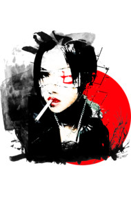 Japanese firl with cigarette