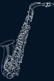 Sax Doodles (On Dark)