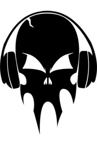 Skull with headphones - black
