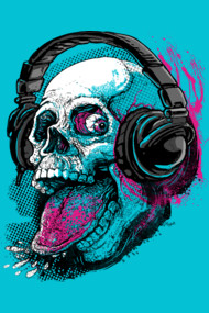 Raspberry Skull Chilling With Music Headphones