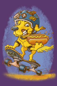 Skateboarding Hot Dog Dawg