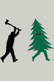 Funny Christmas Tree Hunted by lumberjack (Funny Humor)