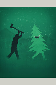 Funny Cartoon Christmas tree is chased by Lumberjack