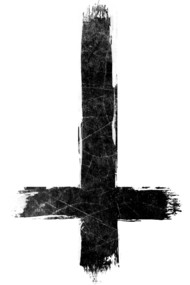 Inverted Cross - Painted Grunge Black