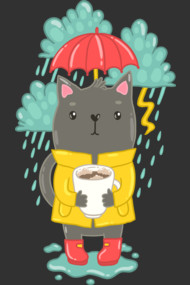 Rainy coffee cat