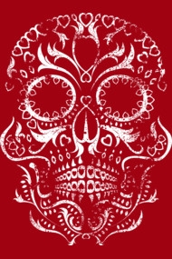 Distressed Original Day of the Dead Skull