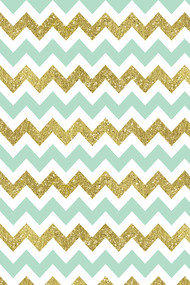 Mint Gold Glittery Chevron