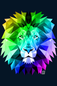 Rainbow Geometric Lion