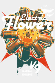 Electric flower airplane radial engine mechanic pilot art