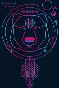 Colorfull geometric bear american native tribal universe