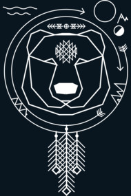 Geometric native art bear and tribal universe
