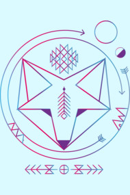 Geometric colored spiritual native fox art universe