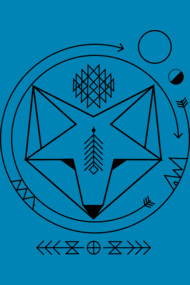 smiling geometric fox native spirit art universe