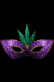Mardi Gras Mask Purple Green Gold Sparkles