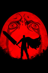 Black Swordsman Under a Red Moon