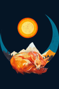 Hibernating Fox Illustration