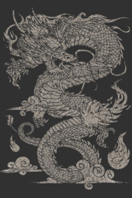 Vintage Ancient Chinese Dragon (On Dark)