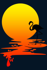 sunset flamingo