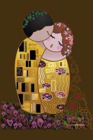 Kokeshis Kiss of Klimt
