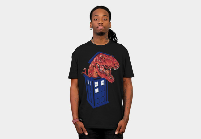 Dinosaur in the TARDIS T-Shirt - Design By Humans