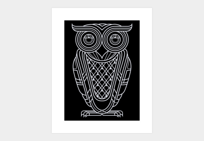 Art Deco Owl (Nocturnal) Art Print - Design By Humans